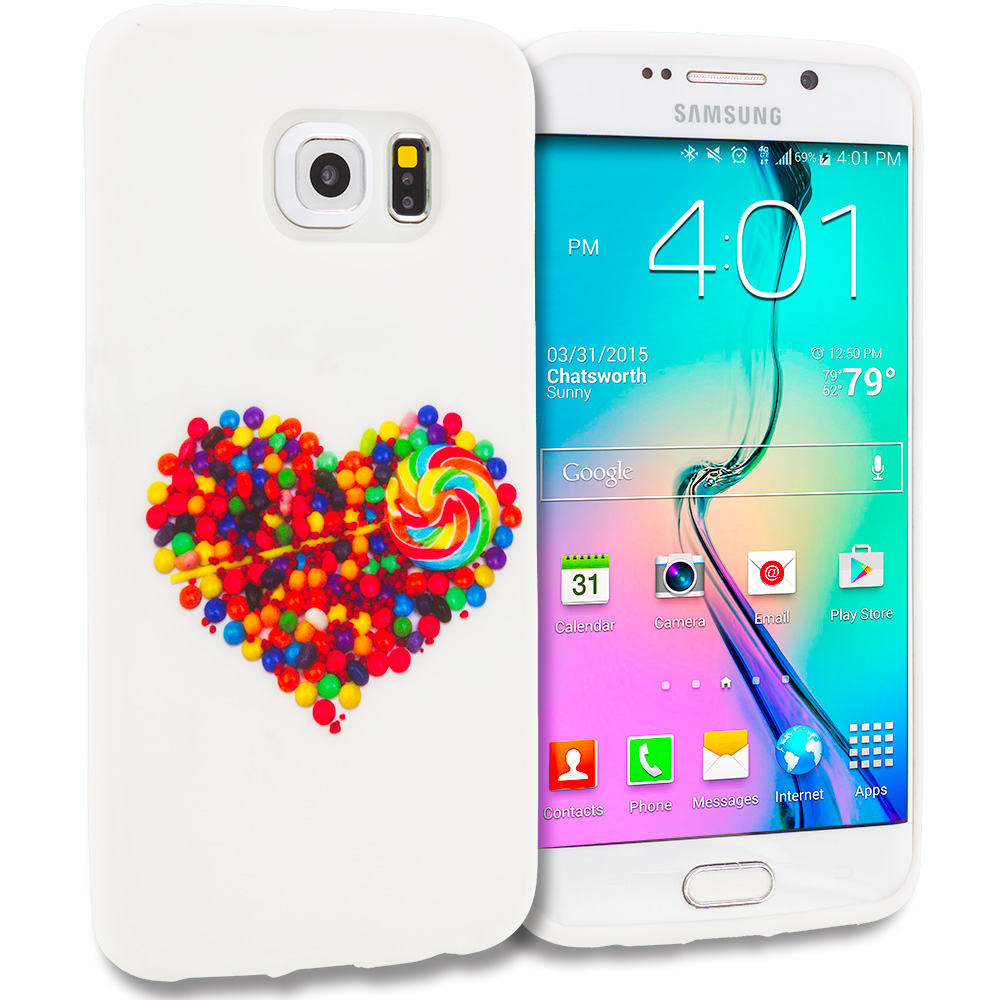 Samsung Galaxy S6 Edge Candy Hearts TPU Design Soft Rubber Case Cover