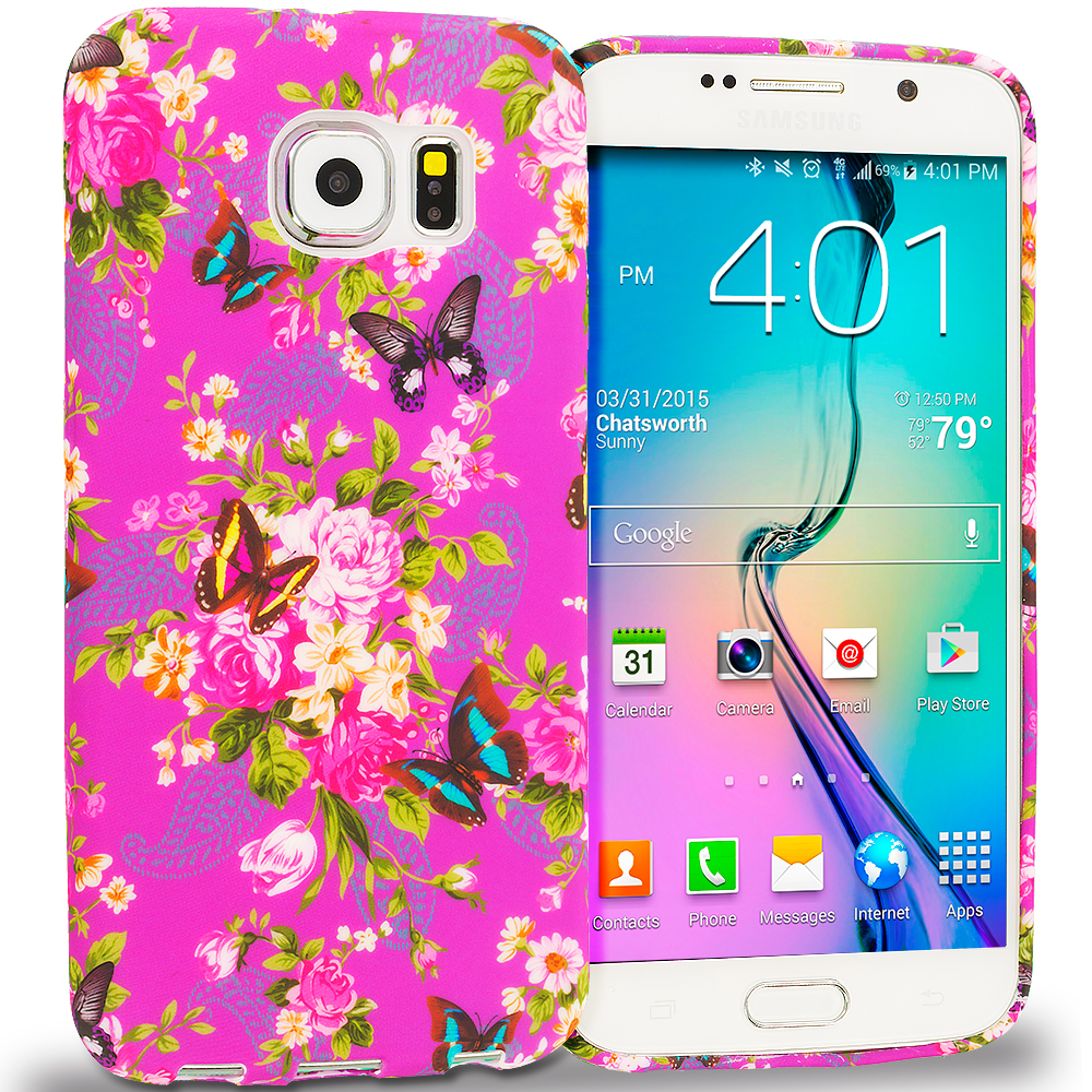 Samsung Galaxy S6 Edge Purple Mixed Flower TPU Design Soft Rubber Case Cover