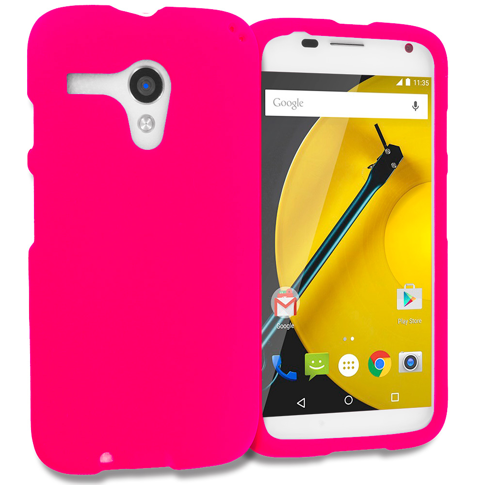 Motorola Moto E LTE 2nd Generation Hot Pink Hard Rubberized Case Cover