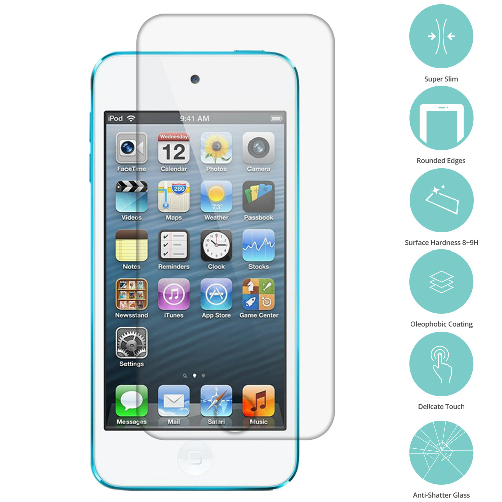 Apple iPod Touch 5th 6th Generation Clear Tempered Glass Film Screen Protector Clear