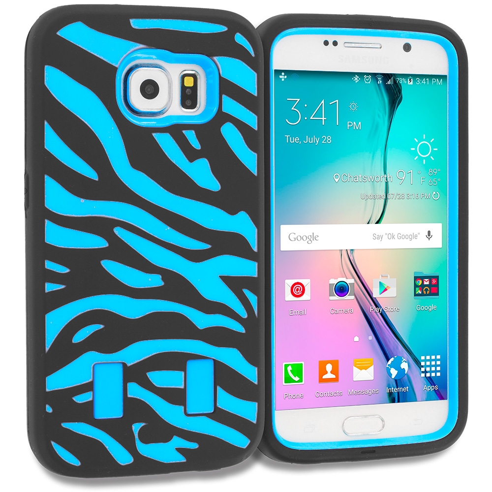 Samsung Galaxy S6 4 in 1 Combo Bundle Pack - Hybrid Zebra Hard/Soft Case Cover : Color Black Baby Blue