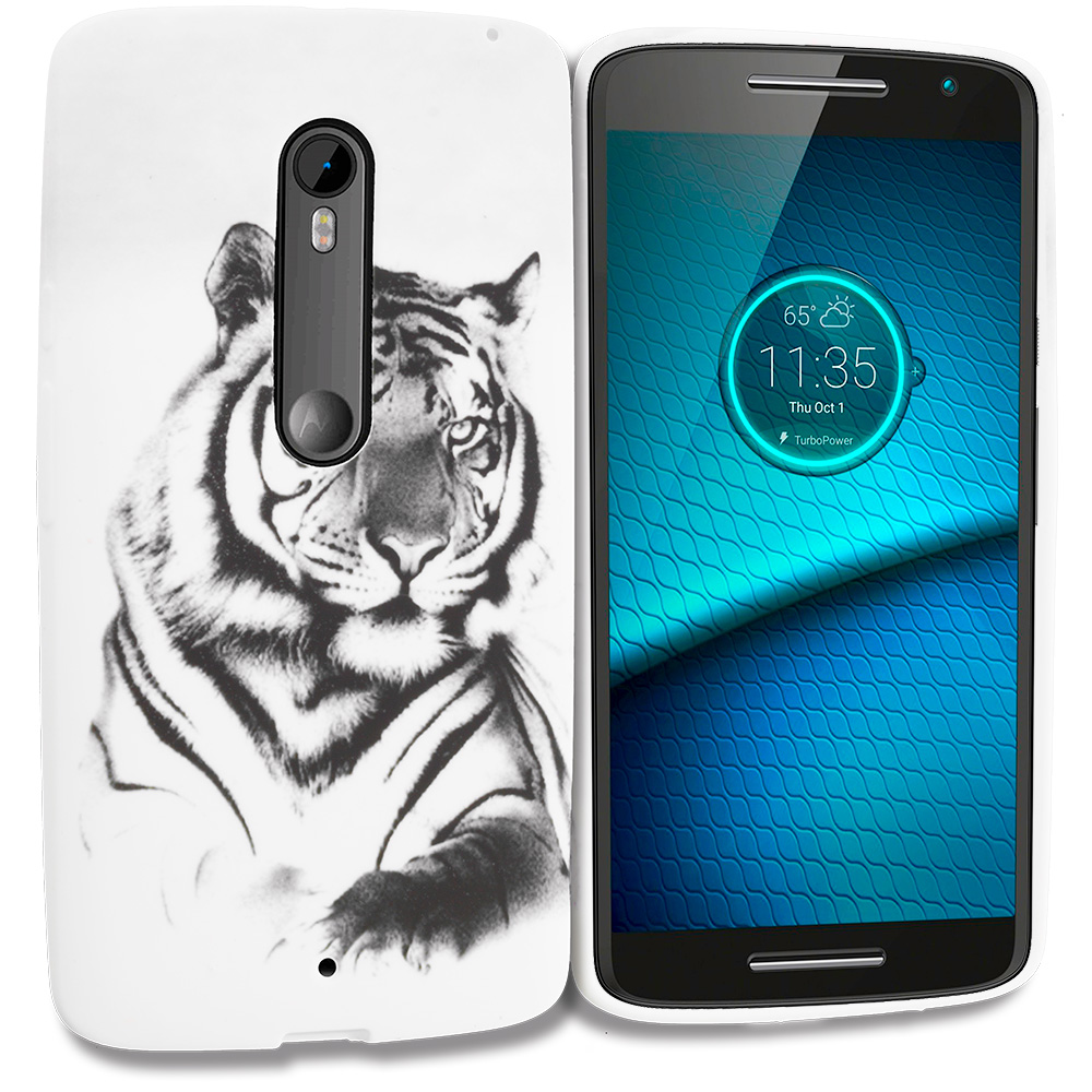 Motorola Droid Maxx 2 XT1565 White Tiger TPU Design Soft Rubber Case Cover