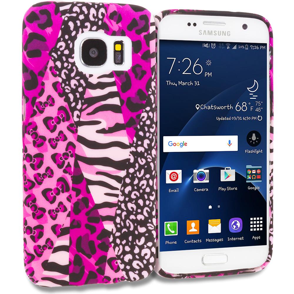 Samsung Galaxy S7 Combo Pack : Black Purple Swirl TPU Design Soft Rubber Case Cover : Color Bowknot Zebra