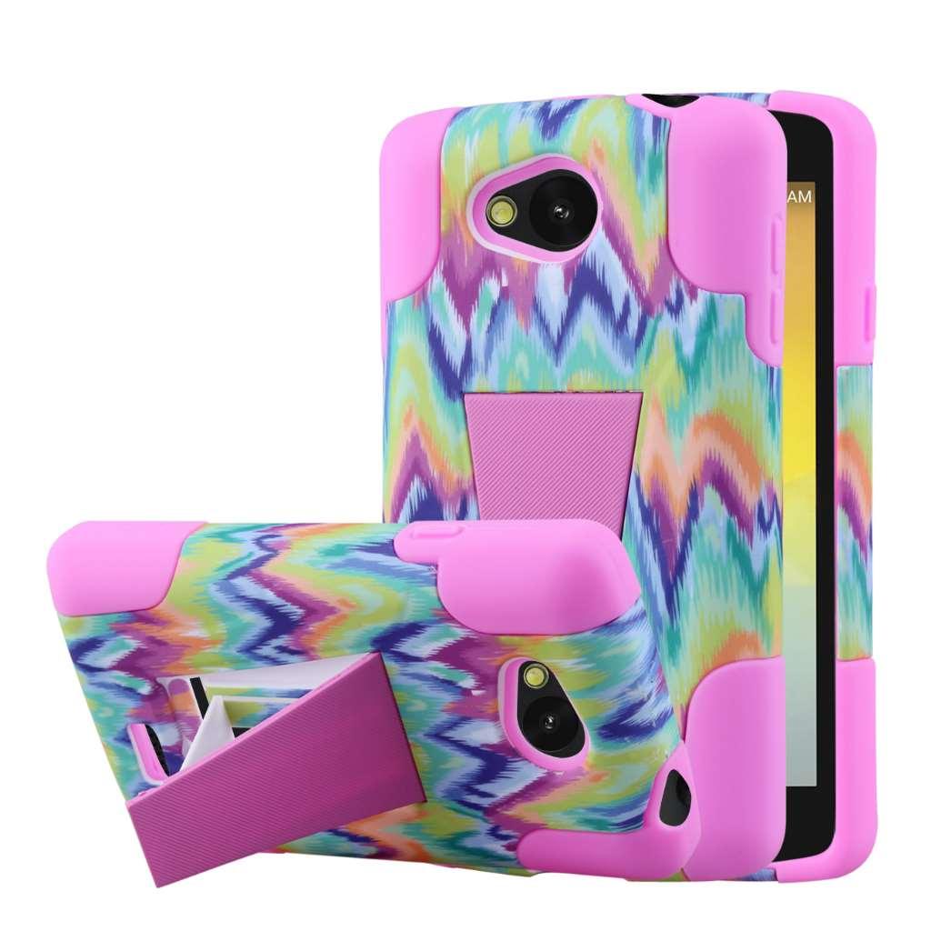 LG F60 - Pink Tie Dye Chevron MPERO IMPACT X - Kickstand Case Cover