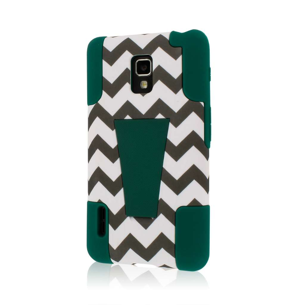 LG Optimus F7 US780 - Teal Chevron MPERO IMPACT X - Kickstand Case Cover