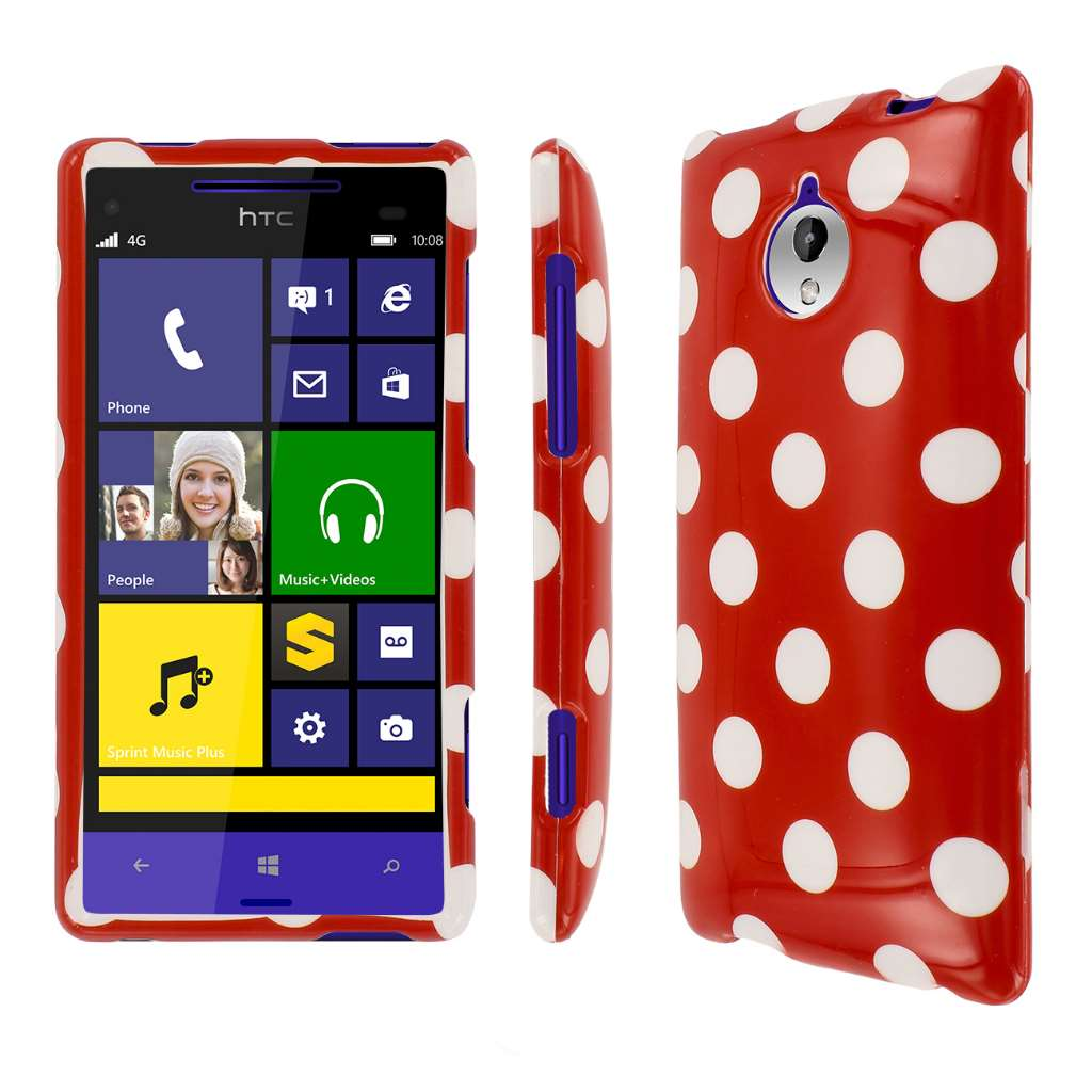 HTC 8XT - Red Polka Dots MPERO SNAPZ - Glossy Case Cover