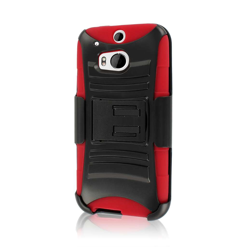 HTC One M8- RED MPERO IMPACT XT - Kickstand Case Cover and Belt Holster