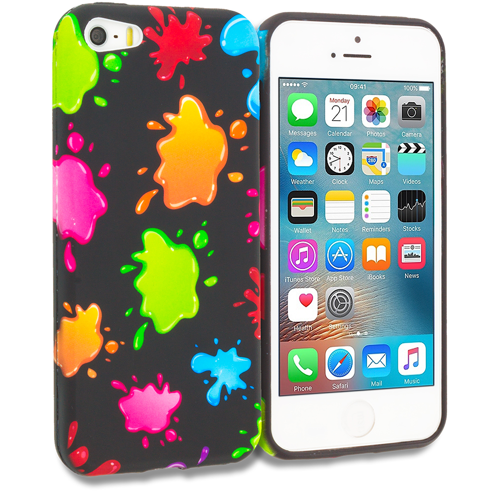 Apple iPhone 5/5S/SE Combo Pack : Colorful Love on Black TPU Design Soft Rubber Case Cover : Color Colorful Splash