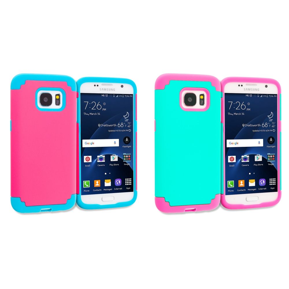 Samsung Galaxy S7 Combo Pack : Hot Pink / Baby Blue Hybrid Slim Hard Soft Rubber Impact Protector Case Cover