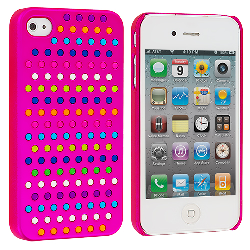 Apple iPhone 4 / 4S 2 in 1 Combo Bundle Pack - Rainbow Hot Pink Red Hard Rubberized Back Cover Case : Color Rainbow Hot Pink