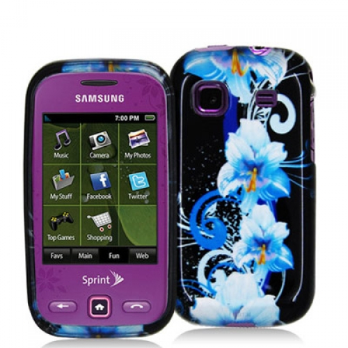 Samsung Trender M380 Blue Flowers Design Crystal Hard Case Cover