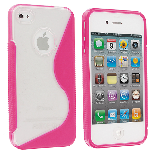 Apple iPhone 4 / 4S 2 in 1 Combo Bundle Pack - Purple / Pink S-Line TPU Rubber Skin Case Cover : Color Clear / Pink S-Line