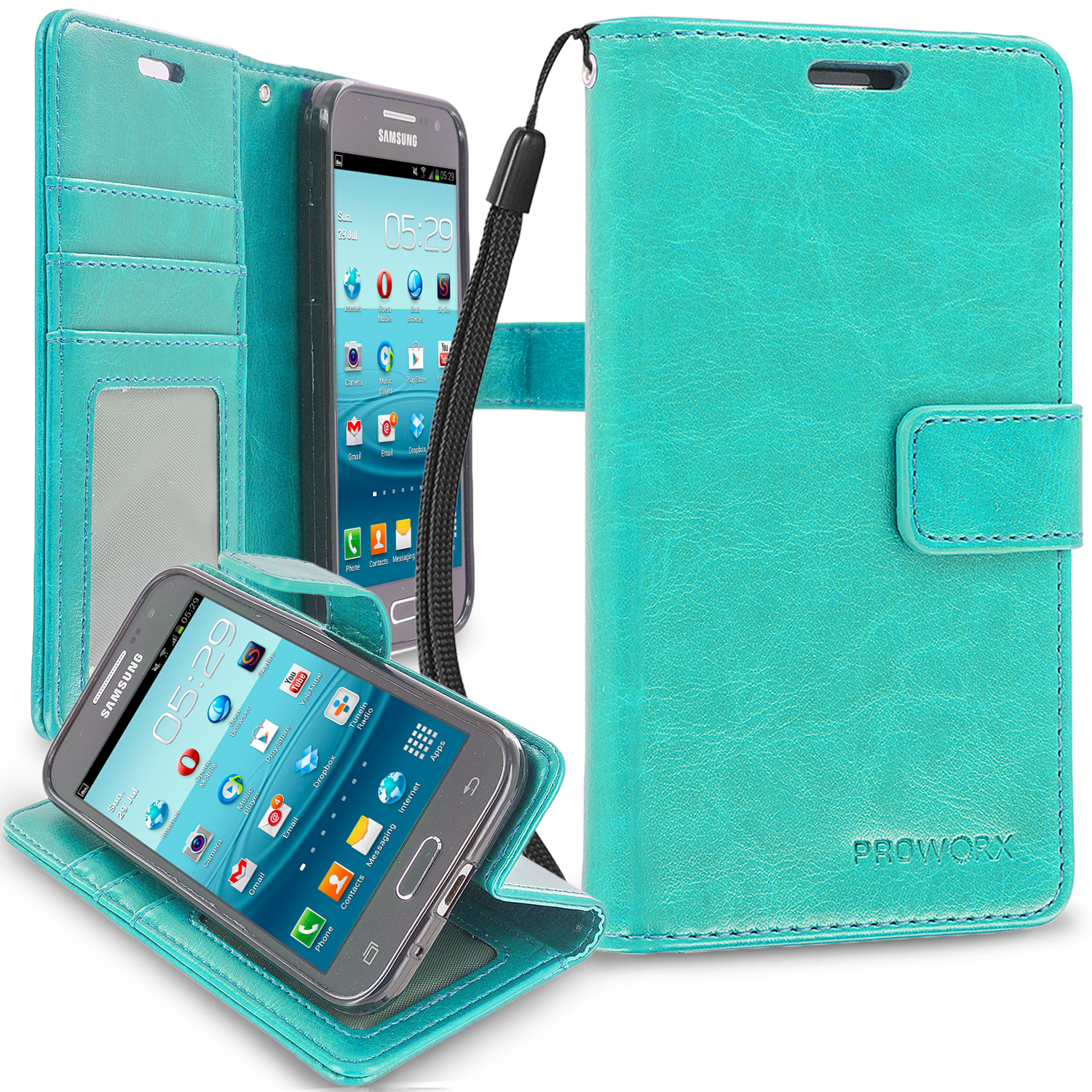 Samsung Galaxy Prevail LTE Core Prime G360P Mint Green ProWorx Wallet Case Luxury PU Leather Case Cover With Card Slots & Stand