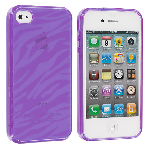 Apple iPhone 4 / 4S Purple Zebra TPU Rubber Skin Case Cover