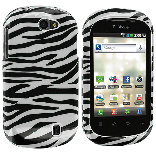LG DoublePlay C729 / Flip II Black / White Zebra Design Crystal Hard Case Cover