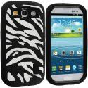 Samsung Galaxy S3 Black / Black Zebra Hybrid Zebra 3-Piece Case Cover Angle 1