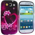 Samsung Galaxy S3 Purple Love TPU Design Soft Case Cover Angle 1