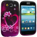 Samsung Galaxy S3 Purple Love TPU Design Soft Case Cover Angle 2