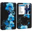 Apple iPod Classic Blue Flowers Hard Rubberized Design Case Cover Angle 1