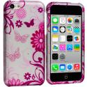 Apple iPhone 5C Pink Butterfly on Silver Hard Rubberized Design Case Cover Angle 1