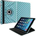 Apple iPad Air Baby Blue White Polka Dot 360 Rotating Leather Pouch Case Cover Stand Angle 1