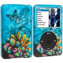 Apple iPod Classic Butterfly Flower on Blue Hard Rubberized Design Case Cover Angle 1