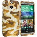 HTC One M8 Camo 2D Hard Rubberized Design Case Cover Angle 1