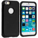 Apple iPhone 6 6S (4.7) Black / Black Hybrid Rugged Hard/Soft Case Cover Angle 1