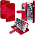 Apple iPhone 6 6S (4.7) Red Crocodile Leather Wallet Pouch Case Cover with Slots Angle 1