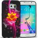 Samsung Galaxy S6 Pink Flower Explosion TPU Design Soft Rubber Case Cover Angle 1