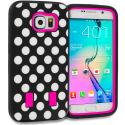 Samsung Galaxy S6 Polka Dot Hot Pink Hybrid Deluxe Hard/Soft Case Cover Angle 1