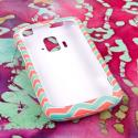 ZTE Radiant/ Sonata 4G - Mint Chevron MPERO SNAPZ - Rubberized Case Cover Angle 2