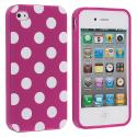 Apple iPhone 4 / 4S Purple / White TPU Polka Dot Skin Case Cover Angle 1
