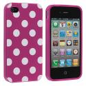 Apple iPhone 4 / 4S Purple / White TPU Polka Dot Skin Case Cover Angle 2
