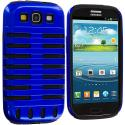 Samsung Galaxy S3 Black / Blue Hybrid Ribs Hard/Soft Case Cover Angle 1