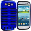 Samsung Galaxy S3 Black / Blue Hybrid Ribs Hard/Soft Case Cover Angle 2