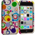 Apple iPhone 5C Colorful Circle on White Hard Rubberized Design Case Cover Angle 1