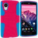 LG Google Nexus 5 Baby Blue / Hot Pink Hybrid Mesh Hard/Soft Case Cover Angle 1