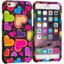 Apple iPhone 6 6S (4.7) Rainbow Hearts Black 2D Hard Rubberized Design Case Cover Angle 1