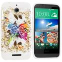 HTC Desire 510 Colorful Butterfly TPU Design Soft Rubber Case Cover Angle 1