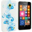 Nokia Lumia 630 635 Blue White FLower TPU Design Soft Rubber Case Cover Angle 1