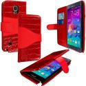 Samsung Galaxy Note 4 Red Crocodile Leather Wallet Pouch Case Cover with Slots Angle 1