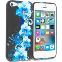 Apple iPhone 5 Blue Flowers TPU Design Soft Rubber Case Cover Angle 1