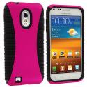 Samsung Epic Touch 4G D710 Sprint Galaxy S2 Black / Hot Pink Hybrid Hard/TPU Case Cover Angle 1