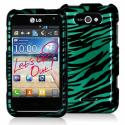 LG Motion MS770 Black / Baby Blue Zebra Design Crystal Hard Case Cover Angle 1
