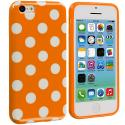 Apple iPhone 5C Orange / White TPU Polka Dot Skin Case Cover Angle 1