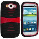 Samsung Galaxy S3 Black / Red Hybrid Hard/Silicone Case Cover with Stand Angle 2