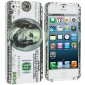 Apple iPhone 5/5S/SE Hundred Dollar on White Hard Rubberized Design Case Cover Angle 1