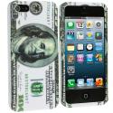 Apple iPhone 5/5S/SE Hundred Dollar on White Hard Rubberized Design Case Cover Angle 2