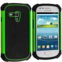 Samsung Galaxy S3 Mini Black / Neon Green Hybrid Rugged Hard/Soft Case Cover Angle 1